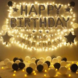 Set trang trí sinh nhật tone Đen – Vàng...